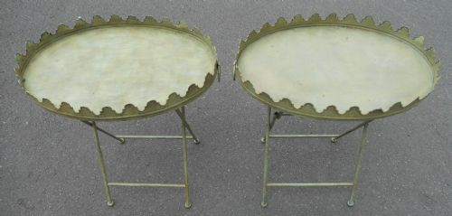 Pair Painted Metal Folding Garden Tables